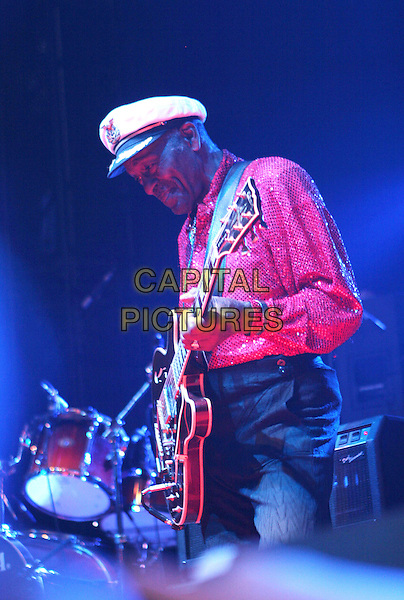 Chuck Berry.Concert in Moscow, Russia..January 18th, 2007.stage live gig performance performing music on half length red shirt guitar hat white side profile  .CAP/PER/LS.©LS/PersonaStars/CapitalPictures