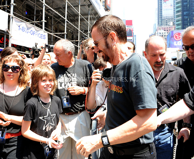 WWW.ACEPIXS.COM . . . . . ....July 7 2010, New York City....Former Beatle and recording artist Ringo Starr celebrates his 70th birthday in Times Square on July 7, 2010 in New York City....Please byline: KRISTIN CALLAHAN - ACEPIXS.COM.. . . . . . ..Ace Pictures, Inc:  ..(212) 243-8787 or (646) 679 0430..e-mail: picturedesk@acepixs.com..web: http://www.acepixs.com