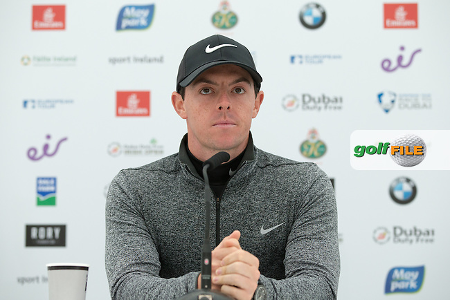 Rory McIlroy (NIR) in media interview during Wednesday's Pro-Am ahead of the 2016 Dubai Duty Free Irish Open Hosted by The Rory Foundation which is played at the K Club Golf Resort, Straffan, Co. Kildare, Ireland. 18/05/2016. Picture Golffile | David Lloyd.<br /> <br /> All photo usage must display a mandatory copyright credit as: &copy; Golffile | David Lloyd.