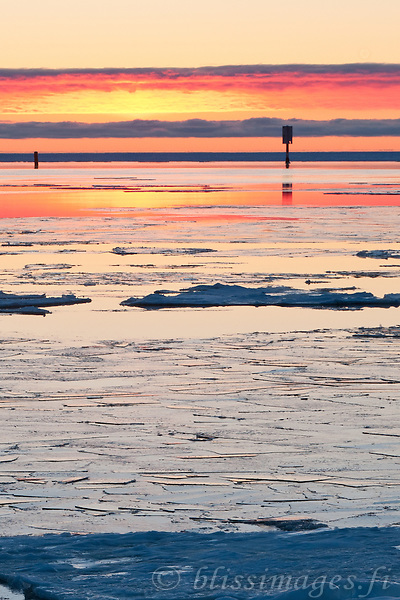Sunset Ice at Kallo -western Finland