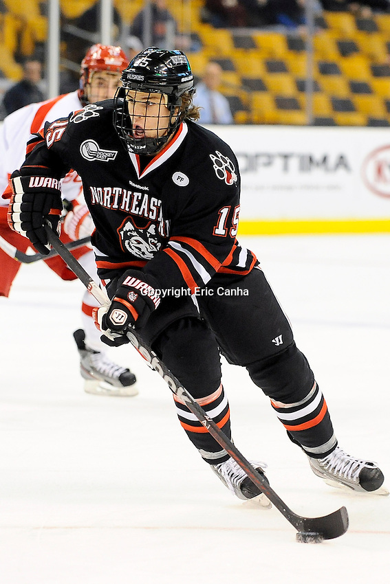 Northeastern University Huskies forward Kevin Roy (15) during the first semi-final Beanpot Tournament hockey game between Boston University and Northeastern University held at TD Garden in Boston Massachusetts.  Eric Canha/CSM
