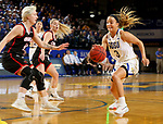 BROOKINGS, SD - FEBRUARY 8: Lindsey Theuninck #3 of the South Dakota State Jackrabbits drives against the Omaha Mavericks at Frost Arena February 8, 2020 in Brookings, South Dakota. (Photo by Dave Eggen/Inertia)