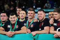 Henry Slade and the rest of the England team pose for a photo after the match. Old Mutual Wealth Series International match between England and Argentina on November 26, 2016 at Twickenham Stadium in London, England. Photo by: Patrick Khachfe / Onside Images