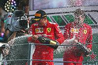 Charles Leclerc of Scuderia Ferrari celebrates after winning Italian GP, Monza 5-8 September 2019<br /> Monza 08/09/2019 GP Italia <br /> Formula 1 Championship 2019 <br /> Photo Federico Basile / Insidefoto