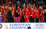 BELGRADE, SERBIA - DECEMBER 16: Montenegro handball team celebrate gold medal during the Women's European Handball Championship 2012 medal ceremony at Arena Hall on December 16, 2012 in Belgrade, Serbia. (Photo by Srdjan Stevanovic/Getty Images)