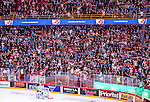 Stockholm 2014-09-17 Ishockey SHL Djurg&aring;rdens IF - Leksands IF :  <br /> Djurg&aring;rdens supportrar med halsdukar<br /> (Foto: Kenta J&ouml;nsson) Nyckelord:  Djurg&aring;rden DIF Hockey Globen Ericsson Globe Arena SHL Leksand LIF supporter fans publik supporters
