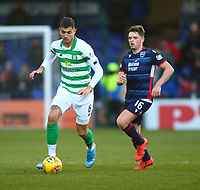 1st December 2019; Global Energy Stadium, Dingwall, Highland, Scotland; Scottish Premiership Football, Ross County versus Celtic; Nir Bitton of Celtic on the ball with Lewis Spence of Ross County - Editorial Use