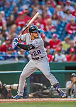 29 July 2017: Colorado Rockies infielder Nolan Arenado in action against the Washington Nationals at Nationals Park in Washington, DC. The Rockies defeated the Nationals 4-2 in the first game of their 3-game weekend series. Mandatory Credit: Ed Wolfstein Photo *** RAW (NEF) Image File Available ***
