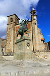 Iglesia de San Martin church and Pizarro statue in historic medieval town of Trujillo, Caceres province, Extremadura, Spain