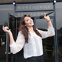 Soprano singer Laura Wright - who is topping the Uk Classical charts today with her album The Last Rose. She still works as a waitress at a restaurant in Central London. Northbank Restaurant  near ST Paul's Cathedral opposite Tate Modern...Pics show: Laura serving customers wine in the restaurant and posing for press photographers outside on the Thames embankment. ....Picture by Gavin Rodgers/ Pixel8000. 07917221968