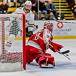 29 December 2018: Rensselaer Engineer Goaltender Owen Savory, a Freshman from Cambridge, ON, looks over his shoulder as the puck sails wide in the second period against the University of Vermont Catamounts at Gutterson Fieldhouse in Burlington, Vermont. The Catamounts rallied from a 2-0 deficit to defeat RPI 4-2 and win the annual Catamount Cup Tournament. Mandatory Credit: Ed Wolfstein Photo *** RAW (NEF) Image File Available ***