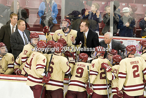 Mike Cavanaugh (BC - Associate Head Coach), Jerry York (BC - Head Coach) - The Boston College Eagles defeated the visiting University of New Hampshire Wildcats 4-3 on Friday, January 27, 2012, in the first game of a back-to-back home and home at Kelley Rink/Conte Forum in Chestnut Hill, Massachusetts.