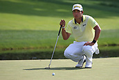 4th June 2017, Dublin, OH, USA;  Hideki Matsuyama of Japan lines up a putt on the ninth hole during the final round of The Memorial Tournament  at the Muirfield Village Golf Club in Dublin, OH.