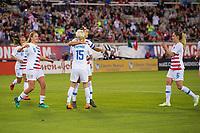 Jacksonville, FL - Thursday, April 05, 2018:  Lindsey Horan, Alex Morgan, Megan Rapinoe, Morgan Brian during a friendly match between USA and Mexico at EverBank Stadium.  USA defeated Mexico 4-1.