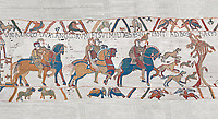 Bayeux Tapestry scene 2 : Harlod leaves for Normandy to inform William he will eucceed to English Throne.  BYX2
