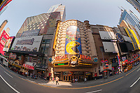 The Regal Cinemas in Times Square in New York on Monday, September 7, 2015. The summer of 2015 was the second biggest box office in history mostly thanks to just three movies with Jurassic World leading the pack. The bulk of the summer's $4.48 billion in ticket sales were divided primarily between four films, Jurassic World,  Avengers, Inside Out and Minions with all the others also rans. (© Richard B. Levine)