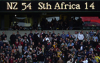 25/05/2002 (Saturday).Sport -Rugby Union - London Sevens.New Zealand vs South Africa (Final) .New Zealand winning final Scoreboard[Mandatory Credit, Peter Spurier/ Intersport Images].