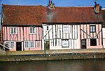 Medieval timber framed houses on River Colne riverside Colchester Essex