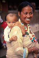 Nepal,Kathmandu. Tibetan mother and child, Thupten's wife