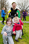 Enjoying the Meadowlands Tralee & Tralee Chamber Alliance Easter Kids Fancy Dress Fun Run at Tralee Town Park on Saturday were Leona Noonan and Abbie Noonan from Camp also pictured is Evan Foley