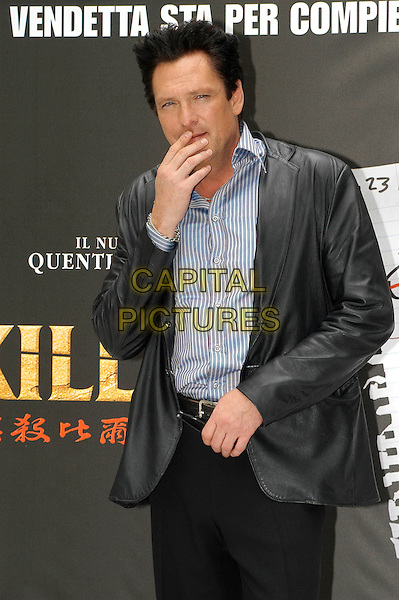 MICHAEL MADSENE .Kill Bill Vol. 2 Photocall.April 23rd, 2004.black leather jacket, half length, half-length, hand, touching face, covering face.www.capitalpictures.com.sales@capitalpictures.com.© Capital Pictures.