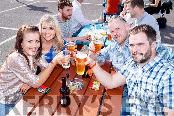 Mary Finn (Cork) Karen Stack (Castleisland) with Micael and Johnny O'Shea (Cahersiveen), enjoying Killarney Beerfest, at the INEC, Killarney on Saturday evening last.