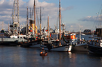 Hamburg Docks on the River Elbe. Hamburg, Germany.