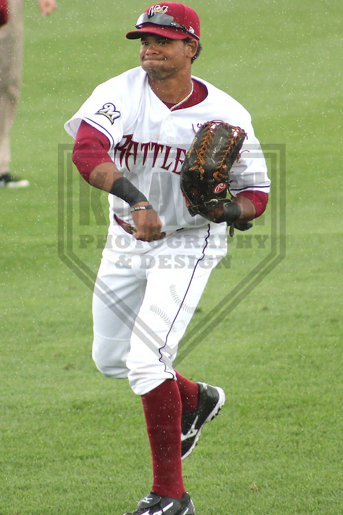 APPLETON - MAY 2011: Reggie Keen (11) of the Wisconsin Timber Rattlers, Class-A affiliate of the Milwaukee Brewers, during a game on May 23, 2011 at Fox Cities Stadium in Appleton, Wisconsin. (Photo by Brad Krause) ........