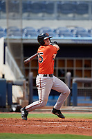 Baltimore Orioles Cody Roberts (55) follows through on a swing during a Florida Instructional League game against the Tampa Bay Rays on October 1, 2018 at the Charlotte Sports Park in Port Charlotte, Florida.  (Mike Janes/Four Seam Images)