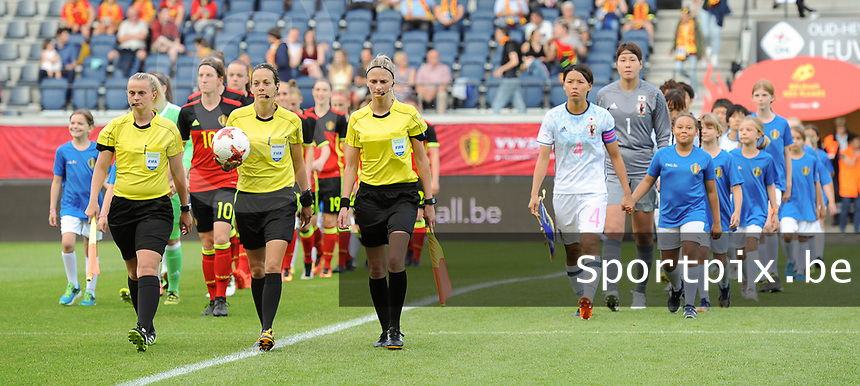 20170613 - LEUVEN ,  BELGIUM : Referee Ivana Martincic (M) with assistant referees Gordana Katusic and Maja Petravic  pictured during the female soccer game between the Belgian Red Flames and Japan , a friendly game before the European Championship in The Netherlands 2017  , Tuesday 13 th Juin 2017 at Stadion Den Dreef  in Leuven , Belgium. PHOTO SPORTPIX.BE | DIRK VUYLSTEKE