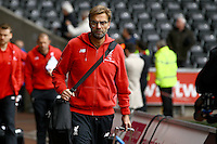 Liverpool manager Jurgen Klopp arrives before the Barclays Premier League match between Swansea City and Liverpool played at the Liberty Stadium, Swansea on 1st May 2016