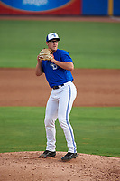 Dunedin Blue Jays relief pitcher Philip Walby (45) gets ready to deliver a pitch during a game against the Bradenton Marauders on July 17, 2017 at Florida Auto Exchange Stadium in Dunedin, Florida.  Bradenton defeated Dunedin 7-5.  (Mike Janes/Four Seam Images)