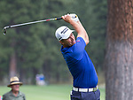Parraig Harrington hit a drive during the Barracuda Championship PGA golf tournament at Montrêux Golf and Country Club in Reno, Nevada on Friday, July 26, 2019.