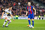 VfL Borussia Monchengladbach's Thorgan Hazard ,FC Barcelona's Andres Iniesta during Champions League match between Futbol Club Barcelona and VfL Borussia Mönchengladbach  at Camp Nou Stadium in Barcelona , Spain. December 06, 2016. (ALTERPHOTOS/Rodrigo Jimenez)