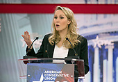 Marion Marchal-Le Pen, granddaughter of National Front founder Jean-Marie Le Pen, and niece of FN leader Marine Le Pen, speaks at the Conservative Political Action Conference (CPAC) at the Gaylord National Resort and Convention Center in National Harbor, Maryland on Thursday, February 22, 2018.<br /> Credit: Ron Sachs / CNP