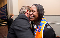 #6 overall pick Maya Hayes of Sky Blue FC is hugged by head coach Jim Gabarra during the NWSL draft at the Pennsylvania Convention Center in Philadelphia, PA, on January 17, 2014.