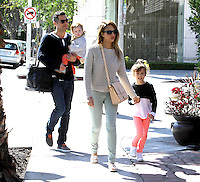 Jessica Alba with husband Cash Warren and their two kids - Los Angeles