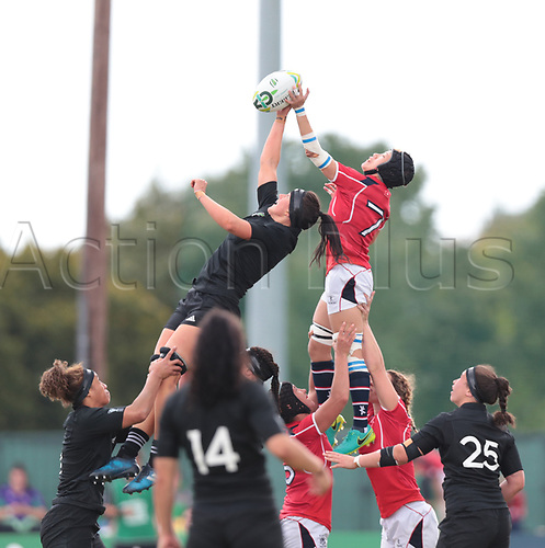 August 13th 2017, Billings Park, UCD, Dublin, Ireland; Womens World Cup Rugby; New Zealand versus Hong Kong; Charmaine Smith (New Zealand) and Winnie Siu (Hong Kong) contest in the air for the lineout ball