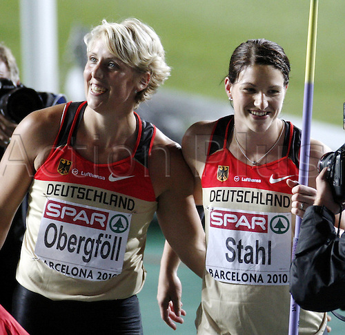 29 07 2010 The 20th European Athletics Championships, Barcelona July 29 2010, Germany's Linda Steel celebrates after becoming European champion in Javelin with silver winning teammate Christina Obergfoll