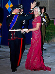 """PRINCE HAAKON AND PRINCESS METTE OF NORWAY.Wedding of HRH the Hereditary Grand Duke and Countess Stéphanie de Lannoy.Gala Dinner at the Grand-Ducal Palace, Luxembourg_19-10-2012.Mandatory credit photo: ©Dias/NEWSPIX INTERNATIONAL..(Failure to credit will incur a surcharge of 100% of reproduction fees)..                **ALL FEES PAYABLE TO: """"NEWSPIX INTERNATIONAL""""**..IMMEDIATE CONFIRMATION OF USAGE REQUIRED:.Newspix International, 31 Chinnery Hill, Bishop's Stortford, ENGLAND CM23 3PS.Tel:+441279 324672  ; Fax: +441279656877.Mobile:  07775681153.e-mail: info@newspixinternational.co.uk"""