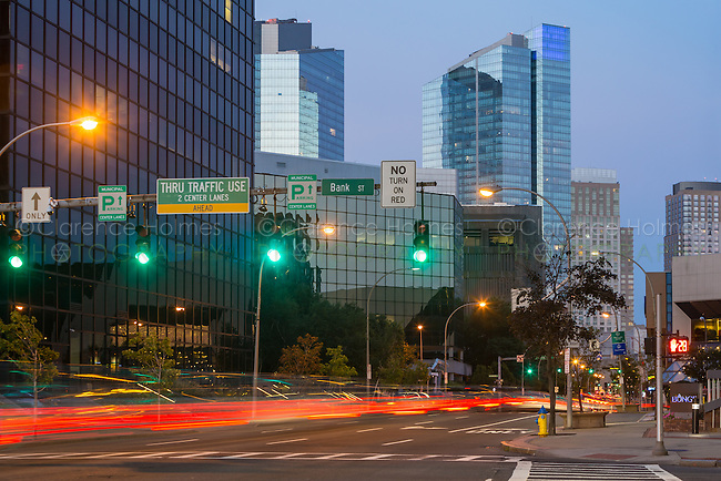 Traffic creates light trails at twilight entering the downtown area of White Plains, New York.