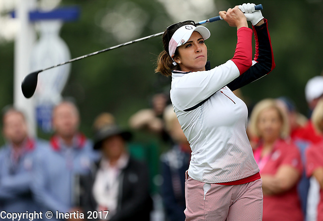 DES MOINES, IA - AUGUST 18: USA's Gerina Piller watches her tee shot on the first hole Friday morning at the 2017 Solheim Cup in Des Moines, IA. (Photo by Dave Eggen/Inertia)