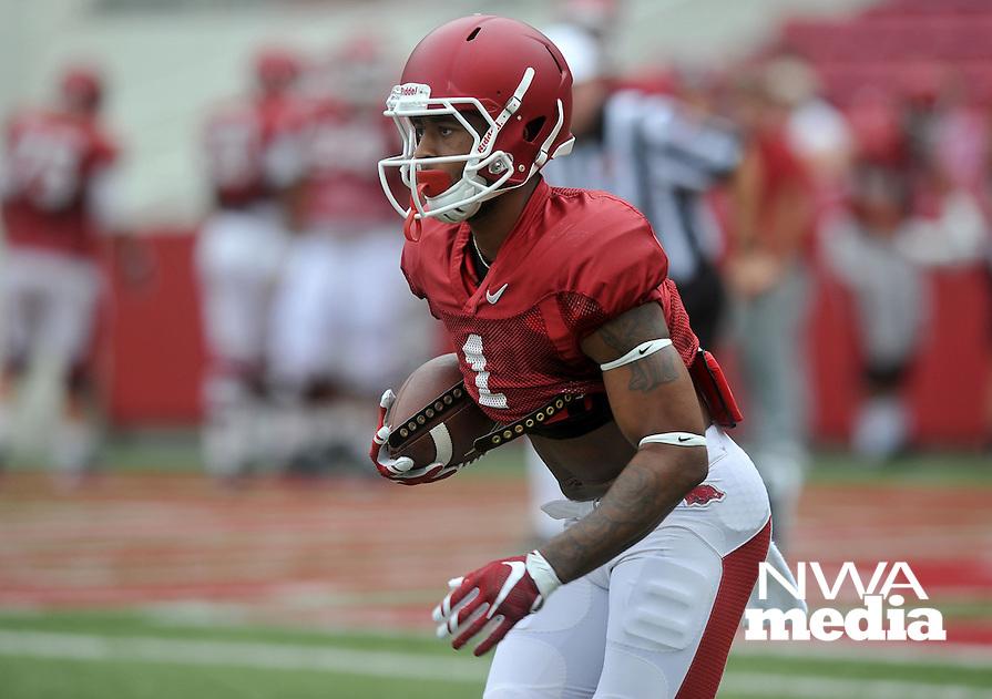 NWA Democrat-Gazette/MICHAEL WOODS &bull; @NWAMICHAELW<br /> University of Arkansas receiver Jared Cornelius runs drills during practice Saturday August 22, 2015 at Razorback Stadium in Fayetteville.