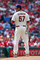 Philadelphia Phillies pitcher David Herndon #57 gets ready to deliver a pitch during their home opener against the Miami Marlins at Citizens Bank Park on April 9, 2012 in Philadelphia, Pennsylvania.  Miami defeated Philadelphia 6-2.  (Mike Janes/Four Seam Images)