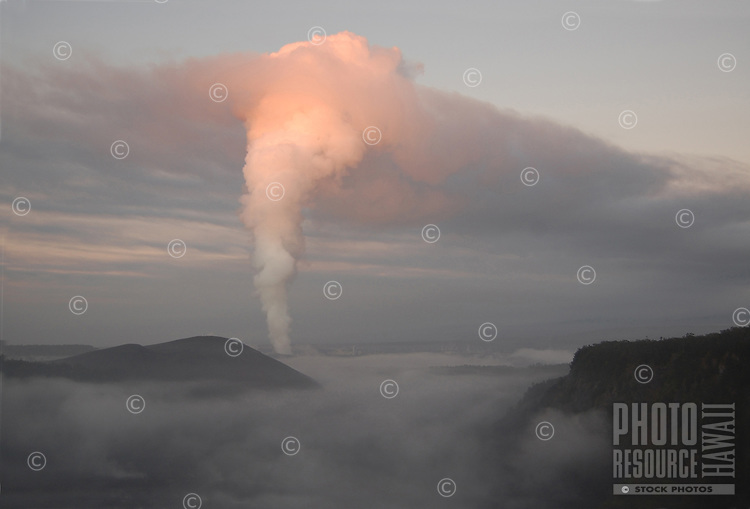 Early morning Halemaumau plume viewed from Kilauea Iki, Hawaii Volcanoes National Park, Big Island