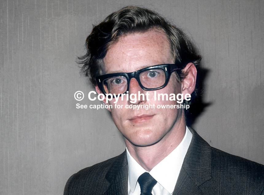 David Trimble, candidate. Vanguard Unionist Progressive Party, North Down, N Ireland Assembly Election, June 1973. 197306000643COL<br />