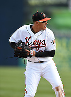 Baltimore Orioles third baseman Manny Machado (31) throws to first during a rehab assignment with the Frederick Keys during a game against the Carolina Mudcats on April 26, 2014 at Harry Grove Stadium in Frederick, Maryland.  Carolina defeated Frederick 4-2.  (Mike Janes/Four Seam Images)