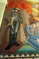 Mural depicting Nicaraguan revolutionary leader Augusto Cesar Sandino in the Palacio Nacional de Cultura in Managua, Nicaragua.