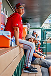 1 March 2019: Washington Nationals AAA Manager Randy Knorr sits in the dugout prior to a Spring Training game against the Miami Marlins at Roger Dean Stadium in Jupiter, Florida. The Nationals defeated the Marlins 5-4 in Grapefruit League play. Mandatory Credit: Ed Wolfstein Photo *** RAW (NEF) Image File Available ***