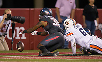 Hawgs Illustrated/BEN GOFF <br /> Kevin Richardson, Arkansas defensive back and Carlton Davis (6), Auburn defensive back, try to recover the ball after an Arkansas punt bounced off an Auburn player's helmet in the first quarter Saturday, Oct. 21, 2017, at Reynolds Razorbacks Stadium in Fayetteville.